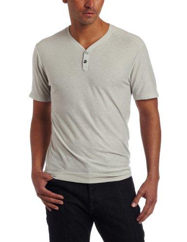 7 For All Mankind Men's Striped Short Sleeve Henley Shirt