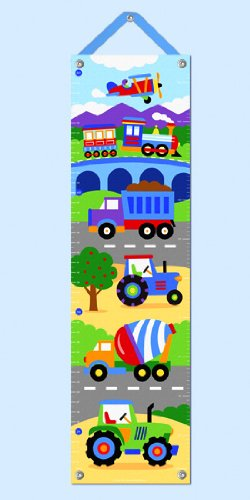 Trains Planes And Trucks Hanging Growth Chart W Blue Ribbon front-1053780