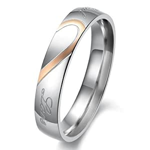 "Women - Size 5 - KONOV Jewelry Mens Womens Hearte Stainless Steel Promise Ring ""Real Love"" Couples Wedding Bands"