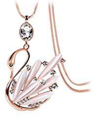 YELLOW CHIMES Golden Swan Opal And Austrian Crystal Long Chain Pendant For Girls And Women