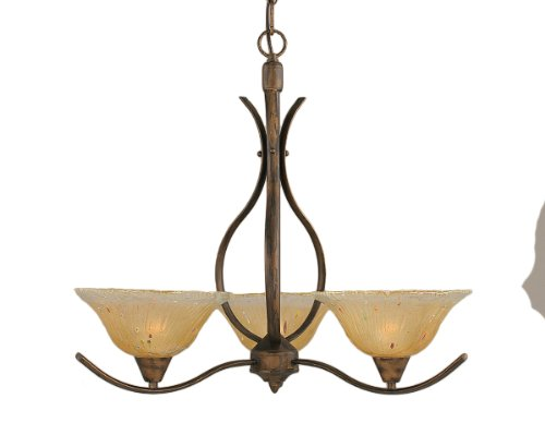 B008AU4Q48 Toltec Lighting 293-BRZ-730 Swoop Three-Light Uplight Chandelier Bronze Finish with Amber Crystal Glass Shade, 10-Inch
