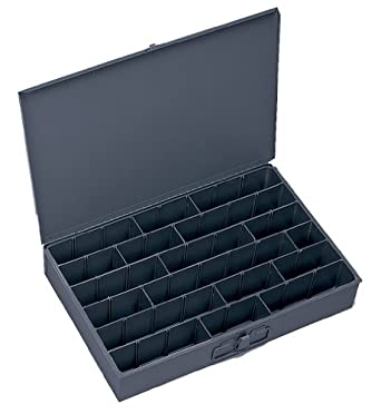 "Durham 099-95-IND Gray Cold Rolled Steel Individual Adjustable Compartment Large Horizontal Box, 18"" Width x 3"" Height x 12"" Depth"