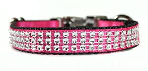 Sophisticated Pup Bling Dog Collar, Medium, Pink Satin