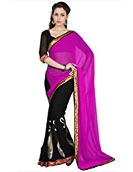 Designersareez Women Magenta & Black Faux Georgette Saree With Unstitched Blouse (1695)