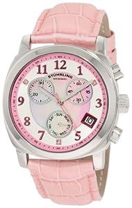 Stuhrling Original Women's 246.1115A9 Vogue Audrey Fiorenza Swiss Quartz Chronograph Swarovski Crystal Mother-Of-Pearl Pink Watch