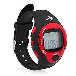 Heart Rate Monitor Watch - Best for Men & Women - Running, Jogging, Walking, Gym Exercise, Iron Man, Cycling, Sports - Digital Timer Stop Watch, Alarm Multi Function - Reduce Stress for Healthy Lifestyle - Watch Case Included - Compressionz (Red)