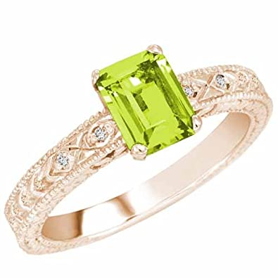 Ryan Jonathan Vintage Style Peridot and Diamond Ring in 14K White Gold