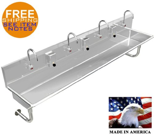"""4 Users Multistation 84"""" Hand Sink Wash Up, Hands Free With Electronic Faucet"""