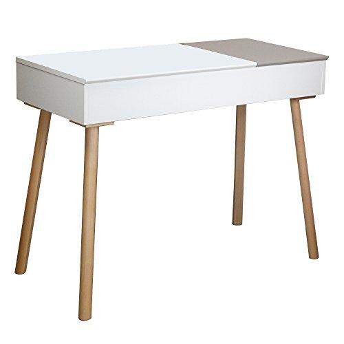 Sekretärtisch weiß-grau mit 2 Klappen
