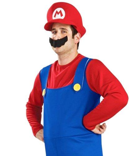 パーティーフリークGO!GO! スーパーマリオ 風 コスプレ衣装 3点セット ( 衣装 + 帽子 + ひげ )