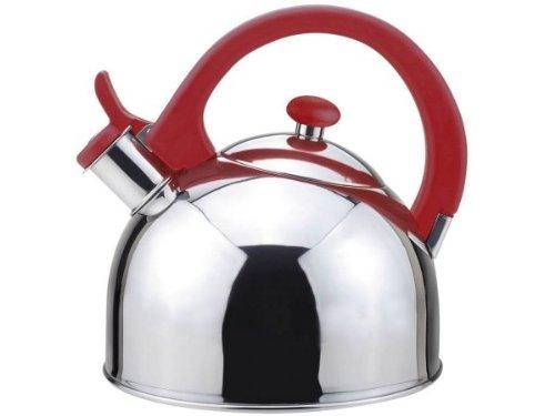 Magefesa 2.1-Quart Acacia Stainless Steel Tea Kettle, Red