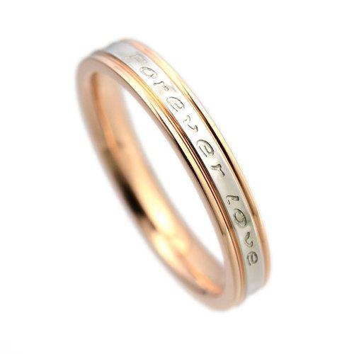 ステンレス/Forever loveリング/ステンレスリング/永遠の愛/サージカルステンレス/ペアリングに/指輪/リング/ピンクゴールド/13号