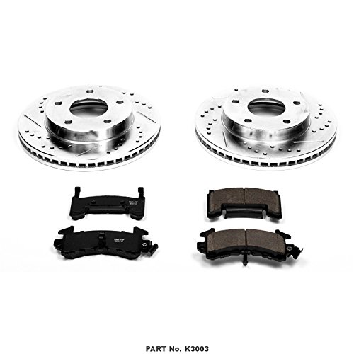 Power Stop K1043 Front Ceramic Brake Pad and Cross Drilled//Slotted Combo Rotor One-Click Brake Kit