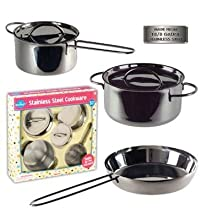 Children s Stainless Steel Cookware Set 5 Pc Gift Set including Saut Pan Stock Pot and Sauce Pan Perfect Gift Idea