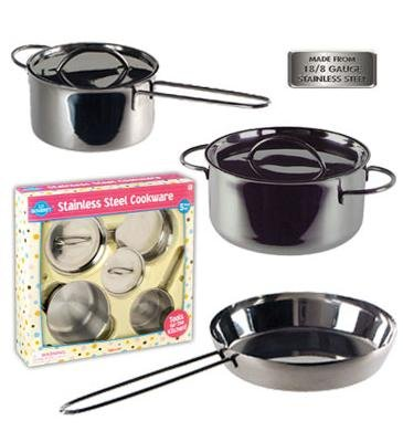 Children'S Stainless Steel Cookware Set 5 Pc. Gift Set Including Sauté Pan, Stock Pot And Sauce Pan *Perfect Gift Idea* front-1060870