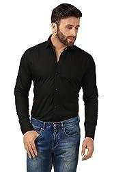 Mesh Full Sleeves Casual Cotton Shirt for Men's/Boy's (Black) -40