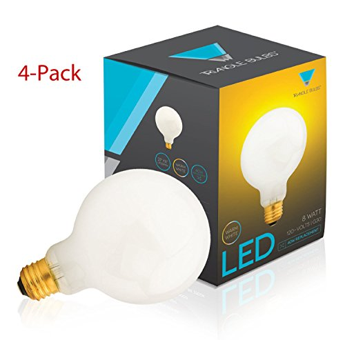 (Pack Of 4) G30 Led Bulb 8W, Warm White, 2700K, 40W Globe Bulb Incandescent Replacement, White Cover,