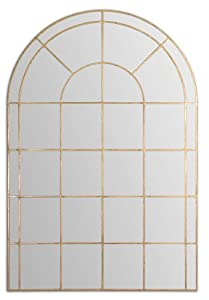 72 antique gold window shaped metal framed arch wall for Gold window mirror