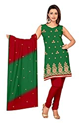 JHEENU Green Chanderi Straight Dupata Work Dressmaterial Suit....