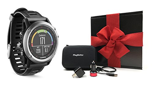 Garmin fenix 3 (Gray) Ultimate Gift Box Bundle | Includes Multi-Sport GPS Fitness Watch, PlayBetter USB Car/Wall Adapter, USB Charging Cable and GPS Carrying Case | Black Gift Box, Red Bow
