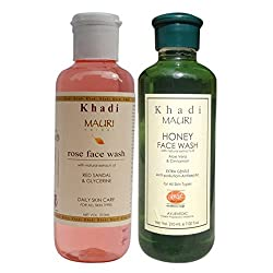 Khadi Mauri Ayurvedic Herbal Face Wash Combo Pack of 2 Rose & Honey Natural & Organic 210 ml each