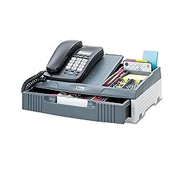 Telephone Organizer Stand, 1 Drawer, 14 3/4 x 10 1/2 x 4 1/4, Gray