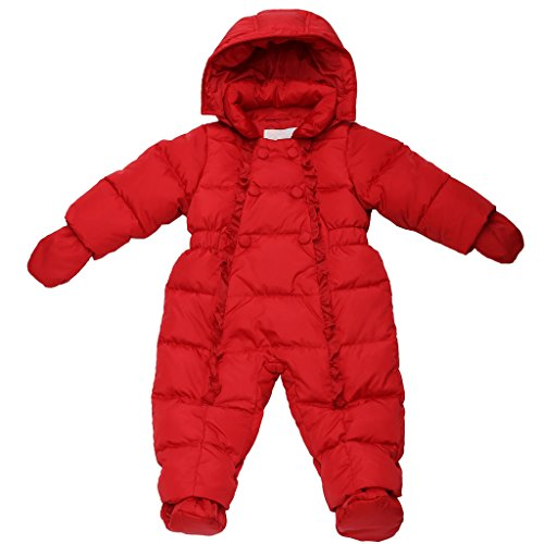 Oceankids Baby Girl's Red One-Piece Detachable Hood Duck Down Snowsuit 24M 18-24 Months