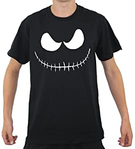 MENS HALLOWEEN T-SHIRT SMILING PUMKIN STITCH FACE 100% COTTON TOP IN BLACK OR WHITE SPOOKY HORROR TEE S-XXXL UPTO 52 INCH CHEST