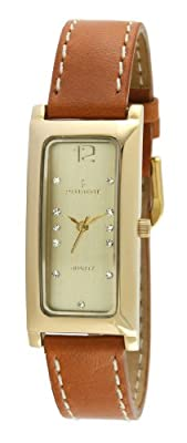 Peugeot Women's 3029G Gold-tone Rectangle Crystal Marker Tan Leather Strap Watch