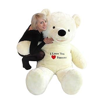Riesen Teddybär Plüschtier Stofftier mit Stickerei weiß 170cm groß als Weihnachtsgeschenk