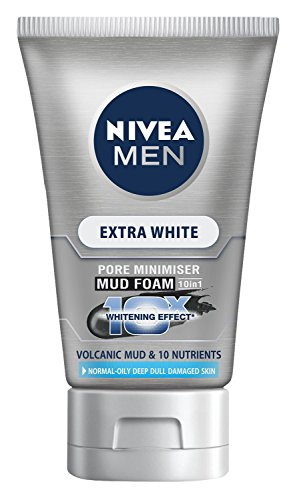 NIVEA Men Extra White Pore Minimizer Volcanic Mud Facial Foam Net wt 3.5 Oz or 100 Gram. (Nivea Extra White Mud Foam compare prices)