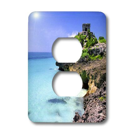 Lsp_60549_6 Florene Worlds Exotic Spots - Shoreline At Tulum Mexico - Light Switch Covers - 2 Plug Outlet Cover