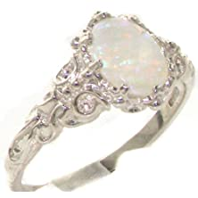 buy Luxurious Solid 10K White Gold Natural Opal Womens Solitaire Ring - Size 8.5 - Finger Sizes 4 To 12 Available