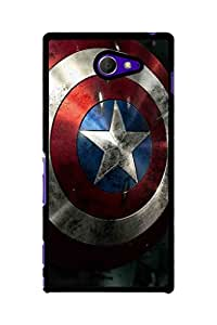 Caseque Captain America Shield Back Shell Case Cover For Sony Xperia M2