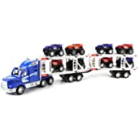 Toy Trucks Power Speed Race Trailer Friction Powered Toy Truck W/ Trailer, 8 Toy Cars
