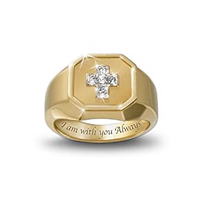 The Devotion Diamond Men's Ring With A Cross Design by The Bradford Exchange