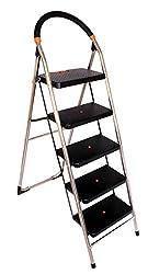 Cipla Plast Folding Stainless Steel Ladder with Chrome finish - MilanoSS 5 Steps + Free 14 Pcs Multipurpose Buffers - GEC-L5M-SS