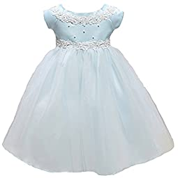 KID Collection Baby-Girls Princess Tulle Flower Girl Dress Blue - L