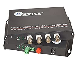 JT OPTICS 4 Channel Analog CCTV Video to Fiber Optical Converter with RS485 Return data Over Single Mode Optical fiber upto 20Km