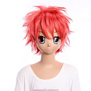 SureWells Cosplay Wigs Cosplay Wigs Ao no Exorcist Short Shining Pink Wigs Cool Boys Cosplay Wigs Party Wigs Costume Wigs
