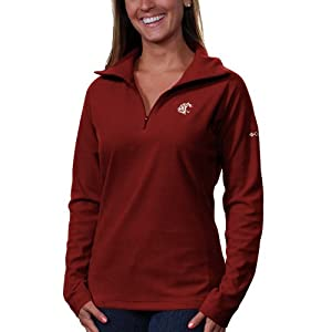 NCAA Columbia Washington State Cougars Womens Glacial Fleece Half Zip Sweatshirt - Crimson (Large)