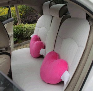 Four Seasons Cute Car Neck Pillow Car Pillow Cushion Rose Pink Heart-shaped Wings Plush Headrest (One Pair) by Four Seasons cute car neck pillow car pillow cushion rose pink heart-shaped wings plush headrest (one pair)