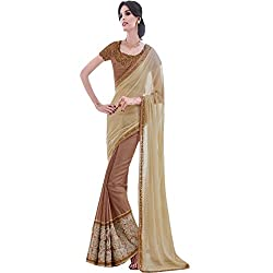 PartyWear Designer Satin Chiffon Shaded Brown Saree With Glitter Netted Velvet Work Designed by vasu saree