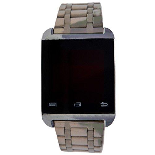 Merchant eShop Black Touch Screen Led Digital Watch for Unisex Silver Steel Belt