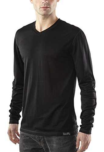 Woolly Clothing Co -  Maglia a manica lunga  - Uomo Black With Colored Stitching Large
