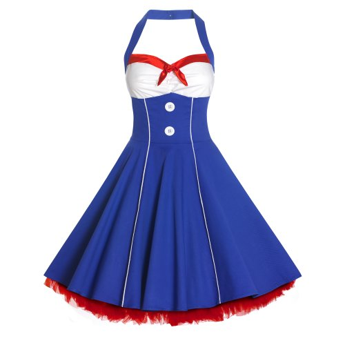 New 50s Ladies Halterneck Nautical Sailor Vintage Style Swing