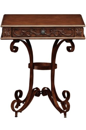 Cheap Heirloom Square End Table With Scroll Iron Base (B000IJJ49Q)