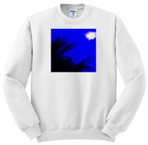 Ss_174426_2 Florene - Beach And Sunset Art - Image Of Sun In Electric Blue Sky With Palm Silhouette - Sweatshirts - Adult Sweatshirt Medium