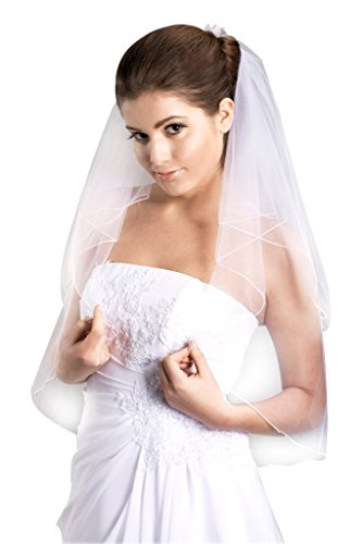 VERNASSA 2 layers Bridal Veil with Comb Wedding Veil (White)