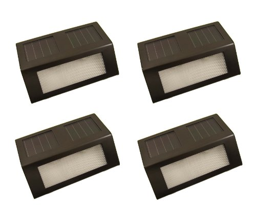 Dark Brown Stainless Steel Solar Powered Staircase Step And Wall Light With Amber Leds (4 Pack)